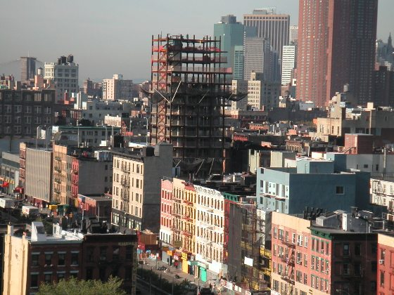 LOST HORIZON A 2005 view of one of the new towers squeezing into the Lower East Side